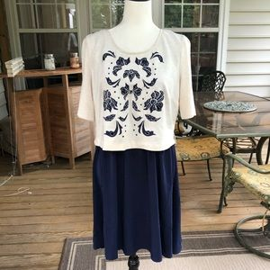 Anthropologie blue and cream dress